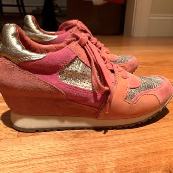 Ash Shoes - ASH Pink and Metallic Rose Gold Wedge Sneakers